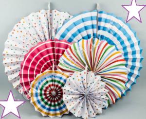 подвесные веера, веерные круги цветные